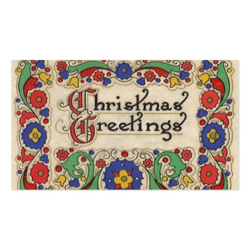 Vintage Christmas Greetings with Decorative Border Business Card Template
