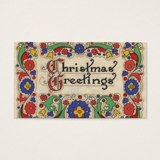 Vintage Christmas Greetings with Decorative Border Business Card