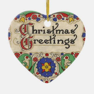 Vintage Christmas Greetings with Decorative Border Ceramic Heart Decoration