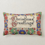Vintage Christmas Greetings with Decorative Border Throw Cushions