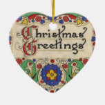 Vintage Christmas Greetings with Decorative Border Ornaments