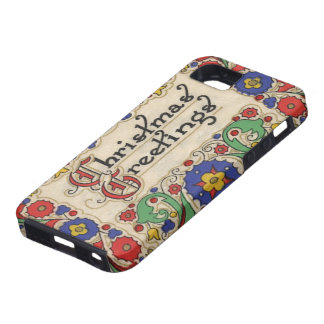 Vintage Christmas Greetings with Decorative Border iPhone 5 Case