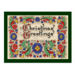 Vintage Christmas Greetings with Decorative Border Post Card