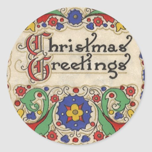 Vintage Christmas Greetings with Decorative Border Round Sticker