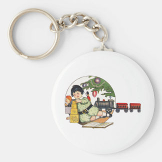 Vintage Christmas, Happy Boy Playing with Toys Basic Round Button Key Ring