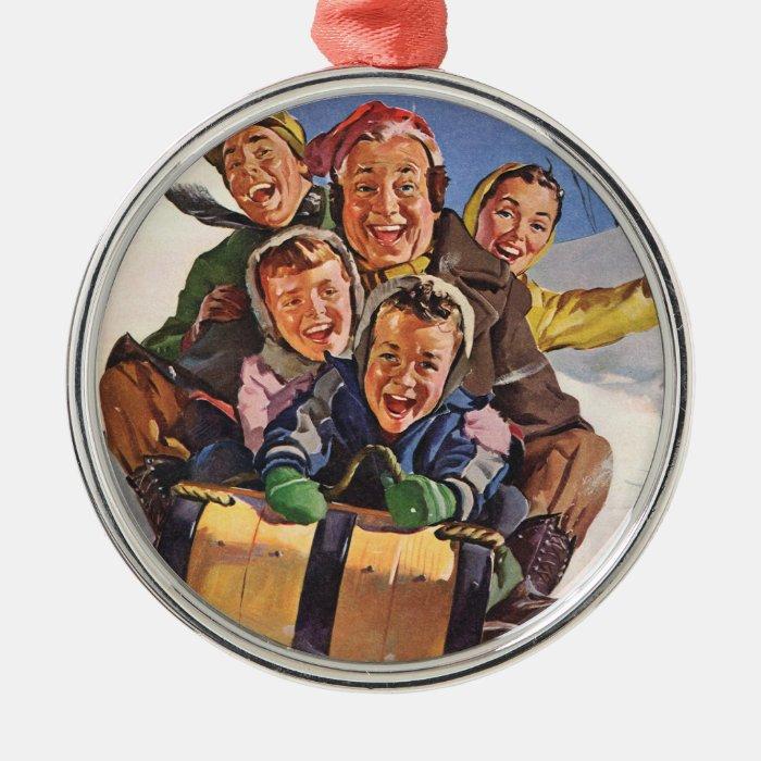 Vintage Christmas, Happy Family Sledding Toboggan Silver-Colored Round Decoration