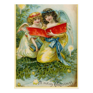 Vintage Christmas Holiday Angels postcard