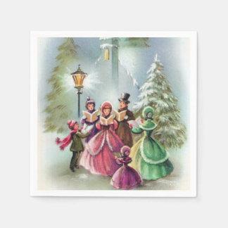 Vintage Christmas Holiday Carolers party napkins Disposable Napkin