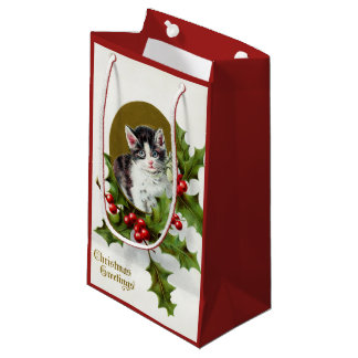 Vintage Christmas Holiday cat party bag