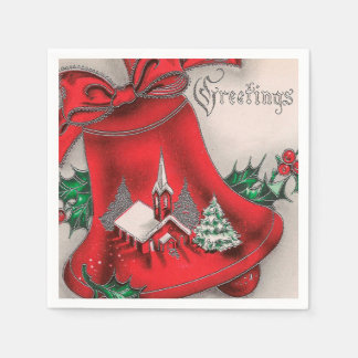 Vintage Christmas Holiday Church bell party napkin Paper Napkin