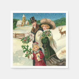 Vintage Christmas Holiday Family party napkins Disposable Napkins