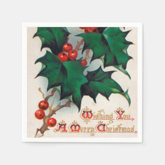 Vintage Christmas Holiday holly party napkins Paper Napkin
