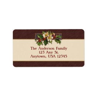 Vintage Christmas Holly Address Label