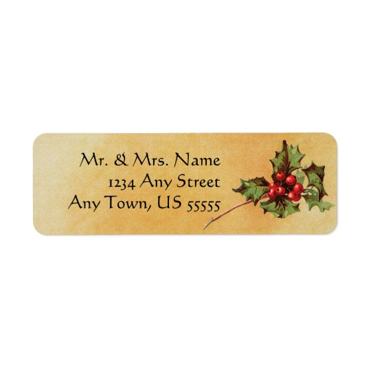 Vintage Christmas Holly Address Labels