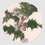 Vintage Christmas, Holly and Berries Round Stickers