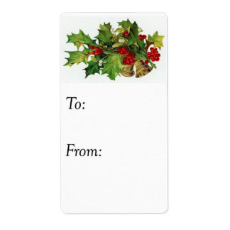 Vintage Christmas Holly Gift Tag Shipping Label