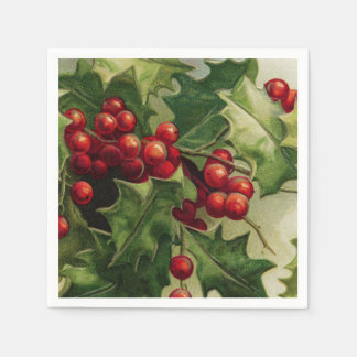 Vintage Christmas Holly Holiday party napkins Disposable Serviette