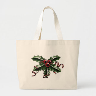 Vintage Christmas Holly Illustration Canvas Bag