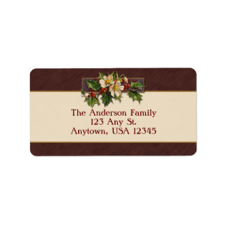 Vintage Christmas Holly Address Label