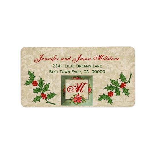 Vintage Christmas Holly Label Address Label