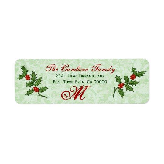 Vintage Christmas Holly Monogram Return Address Label