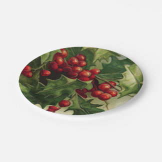 Vintage Christmas Holly party plate