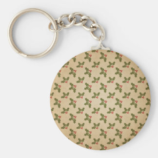 Vintage Christmas Holly Pattern Basic Round Button Key Ring