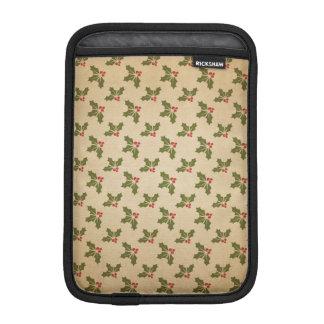 Vintage Christmas Holly Pattern iPad Mini Sleeve