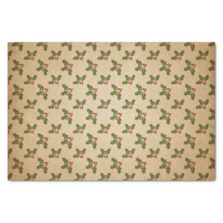 Vintage Christmas Holly Pattern Tissue Paper