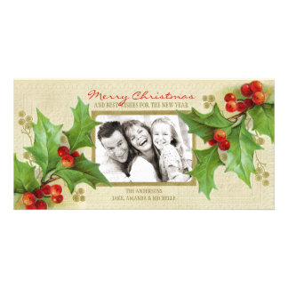 Vintage Christmas Holly Personalized photo card