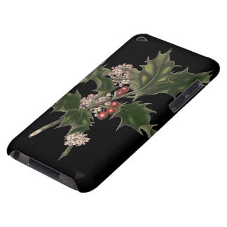 Vintage Christmas, Holly Plant with Red Berries iPod Touch Case-Mate Case