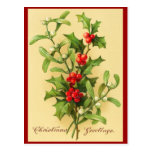 Vintage Christmas Holly Postcard