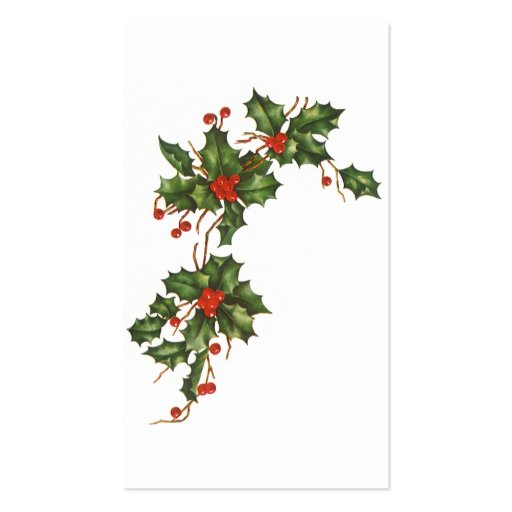 Vintage Christmas, Holly with Berries Business Card Template