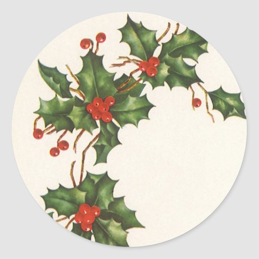 Vintage Christmas, Holly with Berries Sticker