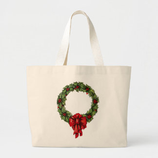 Vintage Christmas Holly Wreath and Berries Canvas Bags