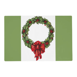 Vintage Christmas Holly Wreath and Berries Green Laminated Placemat