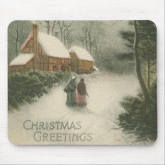 Vintage Christmas Home with Snow Mouse Pad