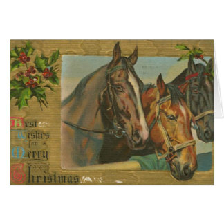 Vintage Christmas Horses Greeting Card