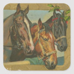 Vintage Christmas Horses Square Stickers