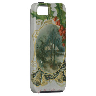 Vintage Christmas House, Bells and Holly iPhone 5 Case