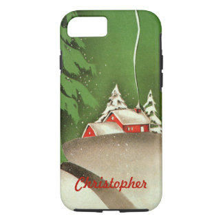 Vintage Christmas, House in Forest Winter Snow iPhone 8/7 Case