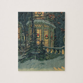 Vintage Christmas, House with Wreaths in Windows Jigsaw Puzzle