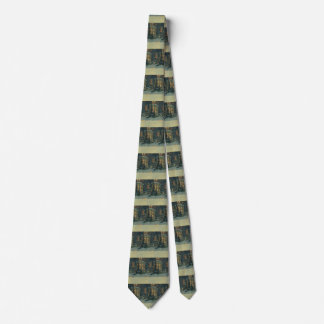 Vintage Christmas, House with Wreaths in Windows Tie