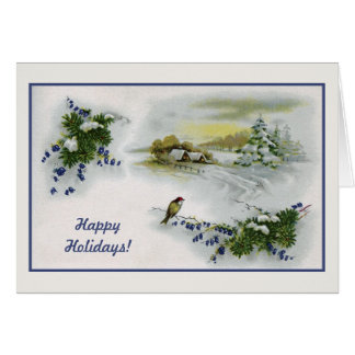 Vintage Christmas houses bird Card