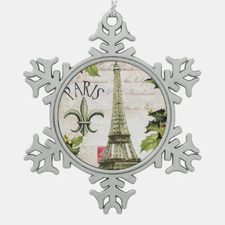 Vintage christmas in Paris Pewter Snowflake Decoration