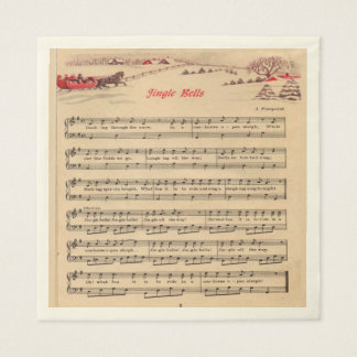 Vintage Christmas, Jingle Bells, Sheet Music, Paper Serviettes