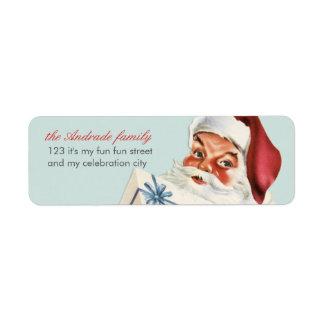Vintage Christmas Jolly Santa Blue Red Holiday Return Address Label