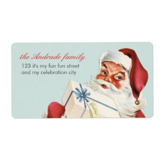 Vintage Christmas Jolly Santa Blue Red Holiday Shipping Label