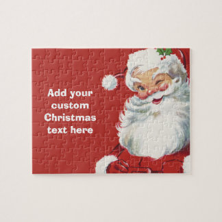 Vintage Christmas, Jolly Santa Claus Winking Jigsaw Puzzle