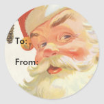Vintage Christmas, Jolly Santa Claus with a Secret Round Stickers